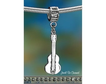 Sterling Silver Acoustic Guitar Charm or European Style Charm Bracelet