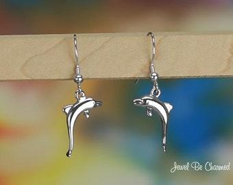 Sterling Silver Dolphin Earrings Pierced Fishhook Earwires Solid .925