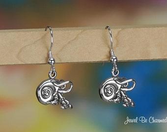 Sterling Silver Hermit Crab Earrings Fishhook Earwires Solid .925