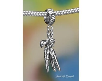 Sterling Silver Carrot Charm or European Style Charm Bracelet .925