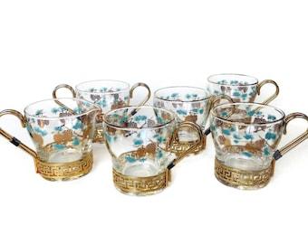 David Douglas Coffee Tea Set, Cups, Creamer, Sugar, Turquoise, Gold, Pine Cone Glass Coffee Set