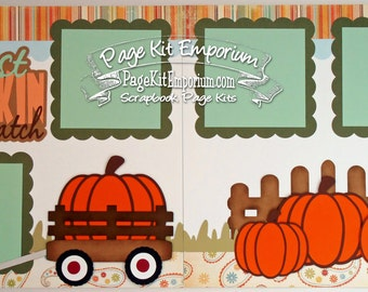 Scrapbook Page Kit Fall Thanksgiving Pumpkin Patch Boy Girl Baby 2 page Scrapbook Layout 93