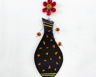 """Hanging Wall Vase  - Fused Glass 16""""x6"""""""