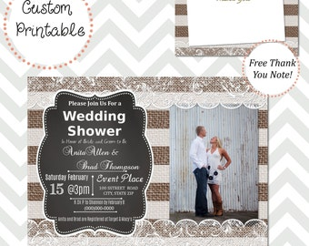 Burlap and Lace Stripe Couple's Wedding Shower Invitation w/ picture DIY Printable