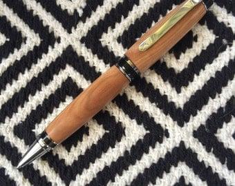Cigar ballpoint pen, Chrome, hand turned from Australian swamp Mallet gum tree timber.