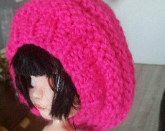 -OOAK Blythe knit hat - oversize and realistic style -  pullip and icy -  hot pink