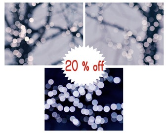 Sparkly wall art, abstract light photography, grey dark blue decor abstract print set of 3 12x12 fairy lights pictures, modern abstract art
