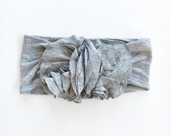 Grey jersey flower headwrap