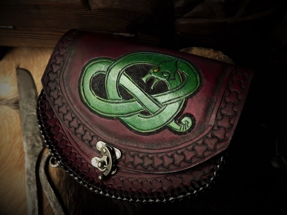 Viking Leather Pouch - Fire Breathing Dragon / Wyrm / Serpent  - Celtic Knotwork- Festival Bushcraft Possibilities Bag