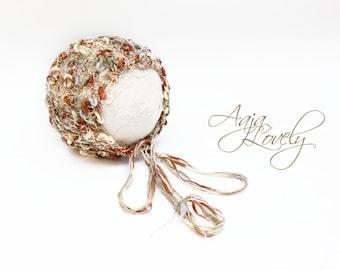 Beautiful handmade delicate baby newborn bonnet Photo prop