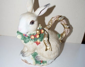 Fitz & Floyd Classic Father Noel Christmas Bunny Rabbit Pitcher