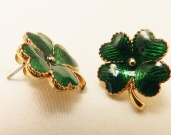 St. Patrick's Day Gold Tone Avon Green Shamrock Post Style Earrings