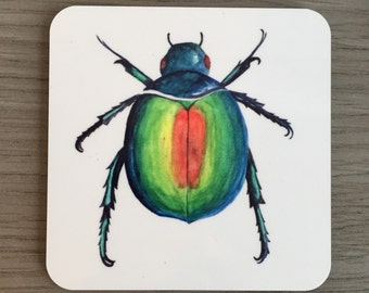 Beetle coaster - drink mat. Entomology insect bug gift. Father's day. Best dad - teacher present