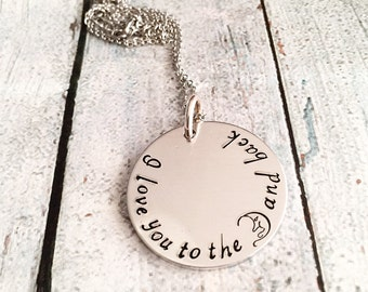 Love you to the moon and back - Hand stamped necklace - Moon and back necklace - Moon and stars jewelry - Personalized jewelry - Custom gift