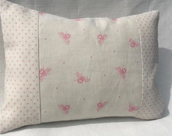 Cushion Cover in Peony & Sage Pink Bees and Dots linen fabric