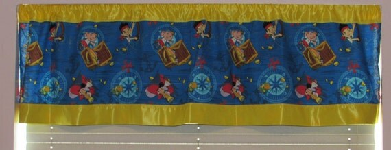 Jake Pirates satin edge curtains/cotton valance/yellow satin edge