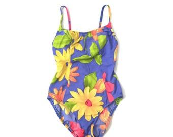Vintage Floral One Piece Bathing Suit
