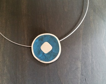 Sterling Silver pendant with blue polymer clay inlay on wire necklace