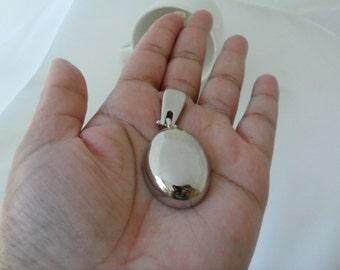 Vintage New Age Hipster Jewelry Mirror Pendant Cheap Jewelry Under 10 Dollars New Age Jewelry Silver Oval Pendant Doorknocker Door Knocker
