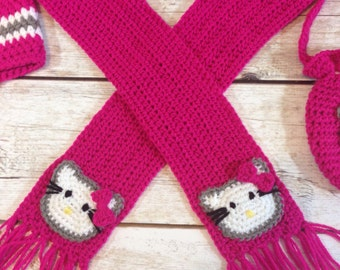 Hello Kitty inspired crochet scarf