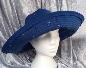 Blue sun hat, blue cotton sun hat, blue hat