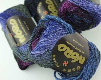 Noro Silk Garden, color 395, periwinkle, magenta, army - mohair, wool, silk knitting yarn