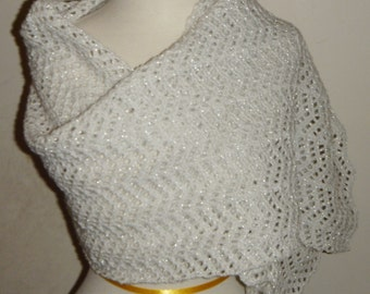 White Glitter Crocheted Lacy Shawl