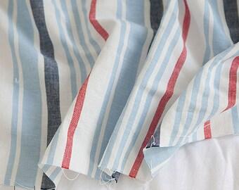 Slub Cotton Linen Fabric Blue & Red Stripe By The Yard