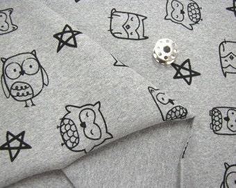 Slightly Brushed Rib Knit Fabric Owl Heather Gray