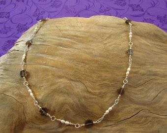 Smoky Quartz & Freshwater Pearl Necklace/ Handmade/Hand Crafted/ Wire Wrapped