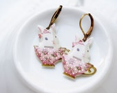 EPOXY COLLECTION: Acrylic epoxy cute bunny in cup earrings, rabbit in cup,for her,for rabbit lovers, birthday Christmas gift, rabbit earring