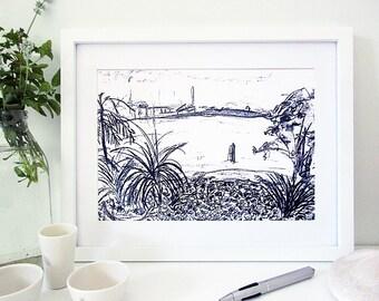 Black and White Print, Charcoal Sketch, Modern Art, Landscape, Brisbane River, Australia, A4 Unframed, Wall Art Print,  Limited Edition