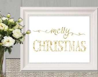 Gold Christmas Printable Merry Christmas wall art Floral Gold Christmas Prints Gold Christmas Home Decor Download 16x20 11x14 8x10 5x7 4x6