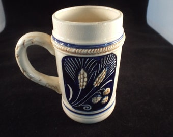 Germany, Octoberfest, German Beer, Beer Mugs,, Vintage Beer Stein, Blue ad Cream, Rustic, Vintage