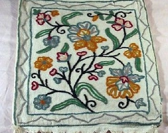 Hand-Made Crewel Stitch EMBROIDERED Indian Cotton Shoulder Bag-embroidered,