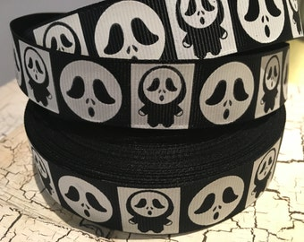 "3 yards 7/8"" Halloween Monster Ghoul Glow in the Dark grosgrain ribbon"