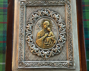 Vintage Polish Madonna Lidded Wooden Box