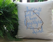 Throw pillow-Georgia on my mind embroidered throw pillow-Song lyric down throw pillow-Moving gift-Housewarming gift-College gift-Custom