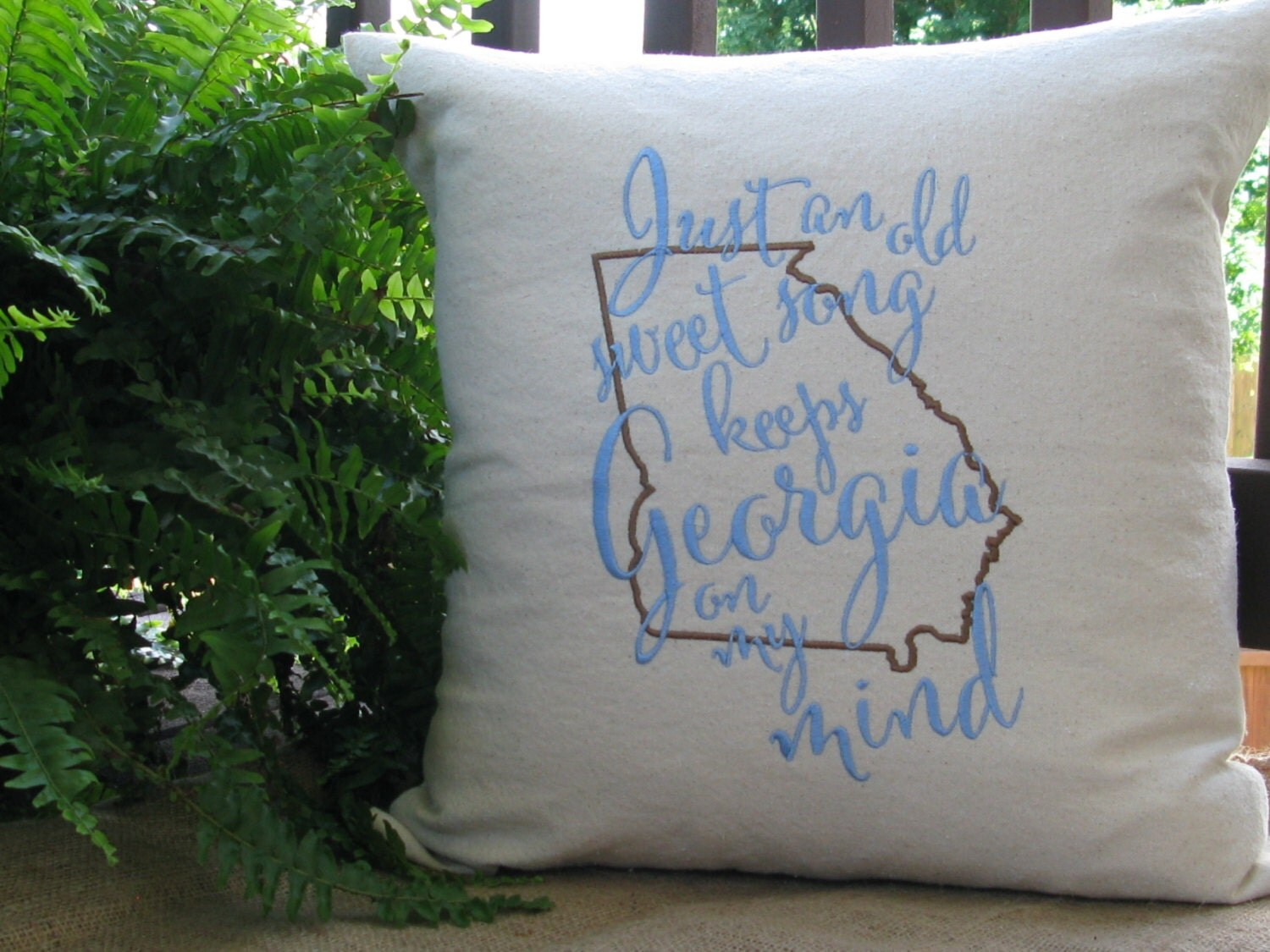 Throw Pillows On The Bed Song : Throw pillow-Georgia on my mind embroidered throw pillow-Song