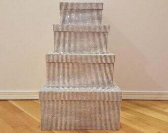 4 Tier Bling Card Box - Money Box Cardbox Rhinestone Diamond Crystal Silver Wedding Wishing Well Cards- Custom