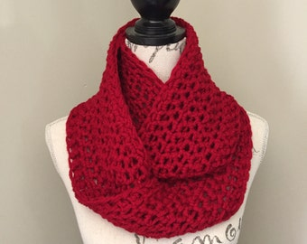 Crochet scarf, infinity scarves in cranberry