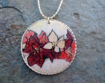 Pendant - POINSETTIA freehand painted wood