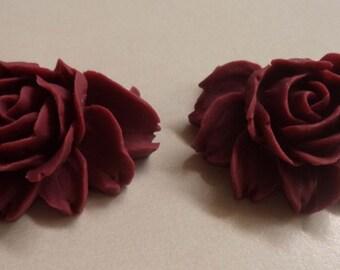 43mm x 32mm flatback rose cabochon maroon color 2 pcs lot l