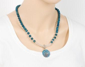 Apatite Necklace, Rose Quartz, Beadwork necklace, Beaded Single Strand Necklace, Gemstone Bracelet, Handmade Jewelry, Gemstone Jewelry