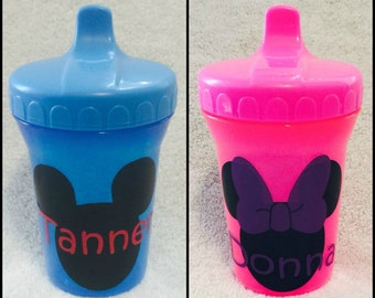Personalized Custom Sippy Cup Sippie Boy Girl Baby Toddler Gift Pink Blue Orange