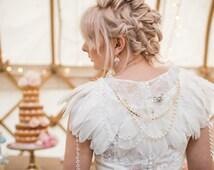wedding cape, dress cape, feather cape, ivory cape, bridal cape, feathers, wedding feathers, bolero, pearls, vintage, accessories, capelet