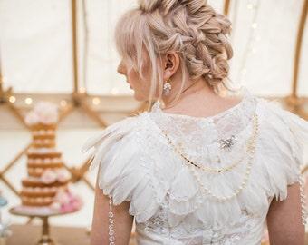 cape de mariage robe cape cape de plume cape ivoire cape marie plumes plumes mariage bolero perles vintage accessoires capelet - Bolero Plume Mariage