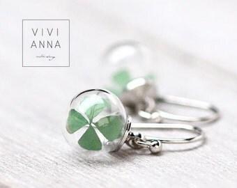 Lucky clover silver brass earrings - E284