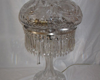 Stunning,Antique American Brilliant 1920's Hand cut Crystal Boudoir Lamp W/Floral motif & Crystal prisms...