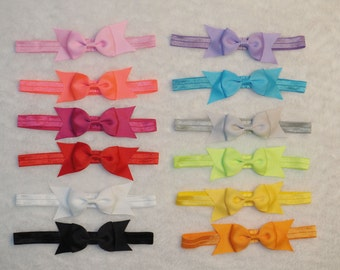 """12 Pcs Baby Toddler Girls Multi-color Headbands,4""""Double Layer Hair Bows,Headwear,Hair accessories,Grosgrain ribbon,Handmade, 12 colors"""